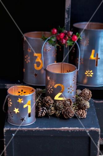 Festive metal candle lanterns
