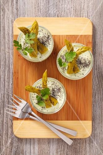 Glasses of asparagus cream
