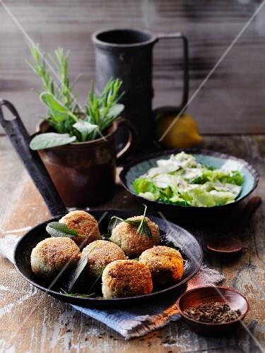 Almond and spelt rice balls with lemon savoy cabbage à la Hildegard von Bingen