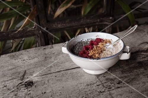 Muesli with yoghurt, raspberries, chia and buffalo worms