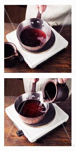 Diluted wine à la Hildegard von Bingen being boiled