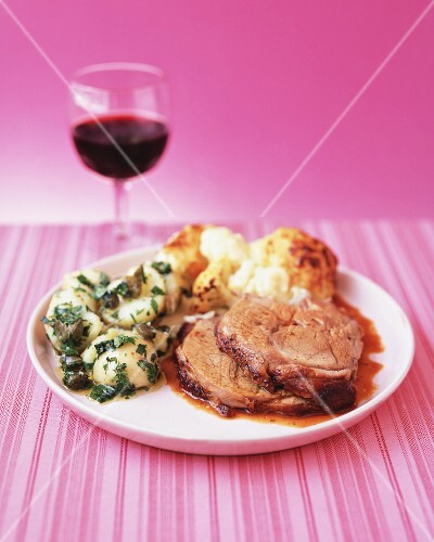 Pork with cauliflower, potatoes and caper butter