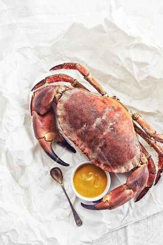A crab with mustard
