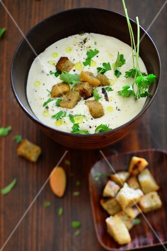Almond soup with croutons
