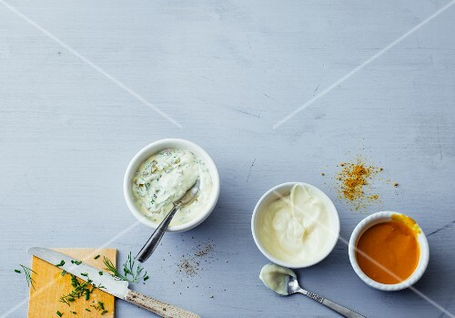 Remoulade, mayonnaise and curry ketchup