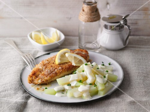 Chicken escalope in an almond coating with a kohlrabi medley
