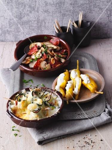 LCHF tapas (mushrooms with chorizo, stuffed jalapeños, gratinated courgette rolls)