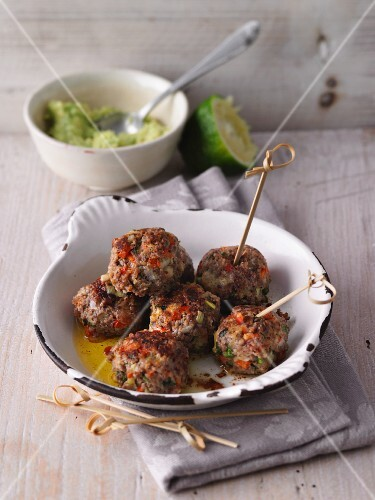 Chilli and lime meatballs with coriander and avocado cream