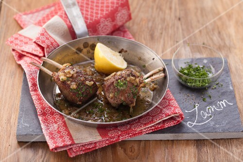 Herb lamb chops in lemon butter (post Lent)