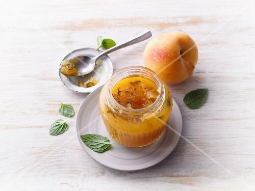 Peach jam with mint