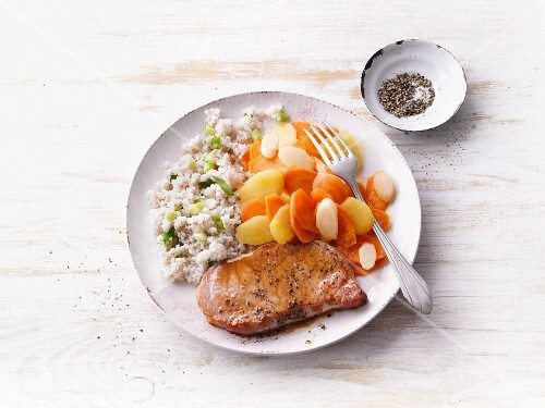 Gammon with colourful carrots and onion barley