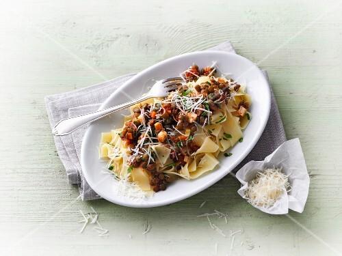 Tagliatelle with lentil bolognese