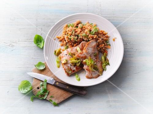 Turkey escalope with basil amaranth