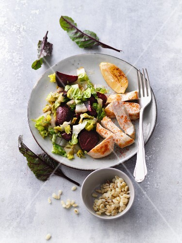 Chicken escalope with beetroot, cos lettuce and tender wheat