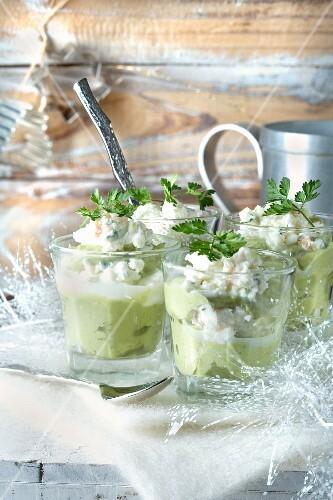 Avocado cream with prawns