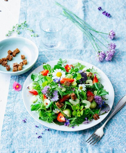 Wild herb salad with avocado, strawberry and croutons
