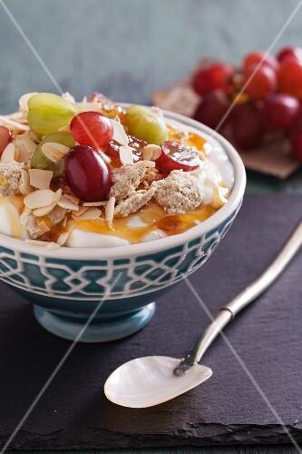 Greek yoghurt with fruit, halva and honey