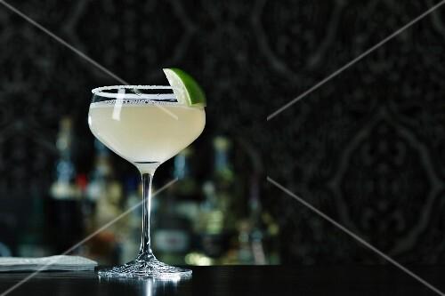 A Margarita cocktail on a bar