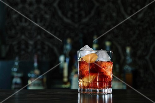 Negroni cocktail on a bar