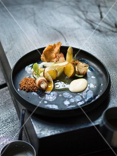 Asparagus, new potatoes and Pancetta, restaurant Urgestein, chef Benjamin Peifer