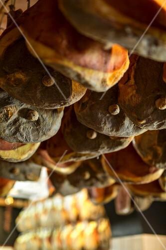 Ham in the shop Macelleria Falorni in Greve, Tuscany