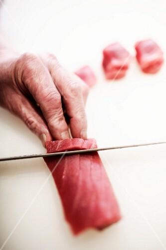 Fish being sliced, Restaurant Sushimoto, Frankfurt am Main