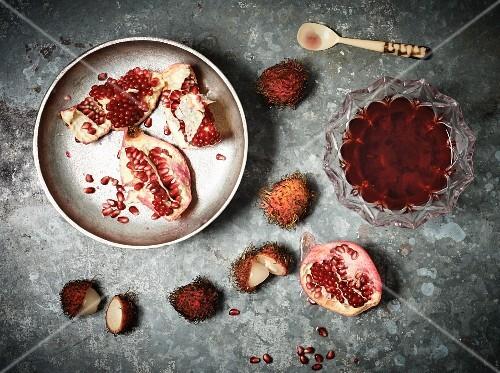 Pomegranates, lychees and pomegranate jam