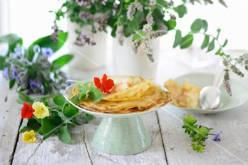 Pancakes and fresh herbs