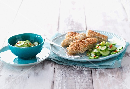 Crispy fish with a cucumber and chilli salad (Asia)