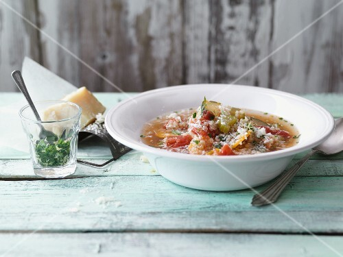 Quinoa minestrone with Parmesan cheese and parsley