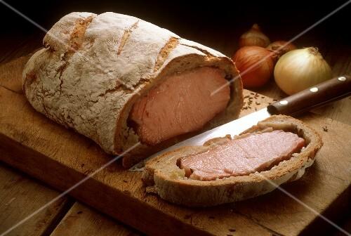 Kassler Rippenspeer in a Loaf of Bread