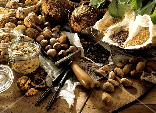 Still Life with Nuts and Seeds on a Wooden Board