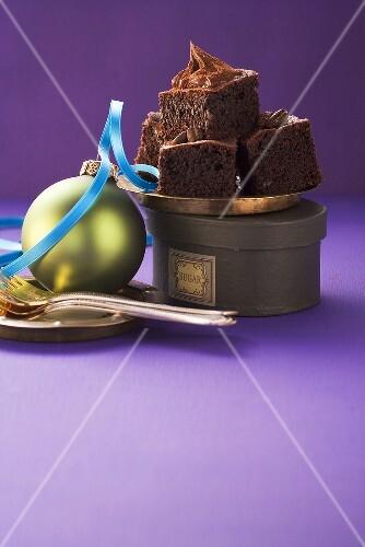 Chocolate fudge brownies for Christmas (USA)