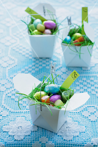 Easter sweets in take-away boxes