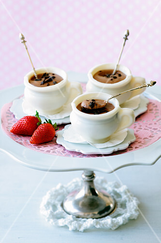Chocolate mousse in white chocolate cups for Easter