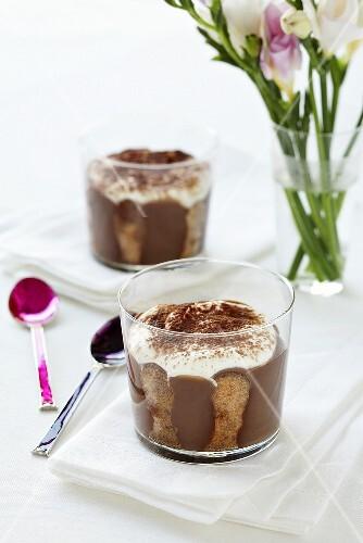 Chocolate tiramisu in glasses