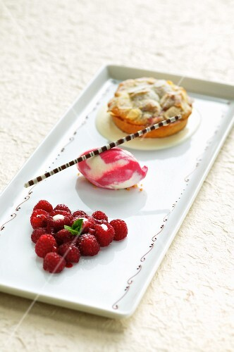 A raspberry tartlet with raspberry ice cream and fresh raspberries