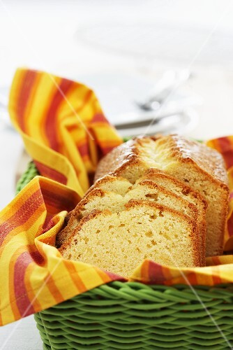 Sponge cake in a bread basket