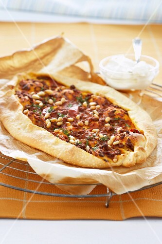 A Turkish pizza (lahmacun)