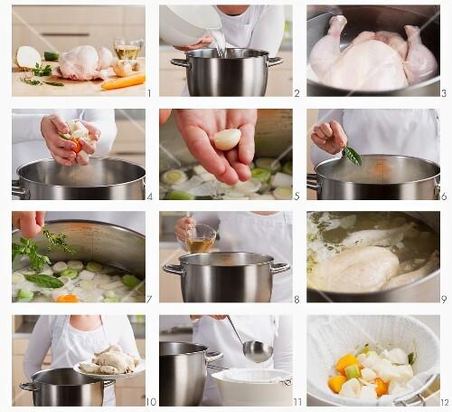 Hühnerbrühe zubereiten
