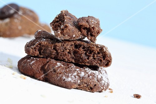 A stack of chocolate biscuits