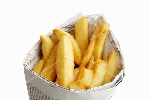 Chips wrapped in newspaper