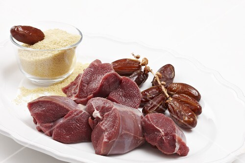 Ingredients for venison ragout with dates