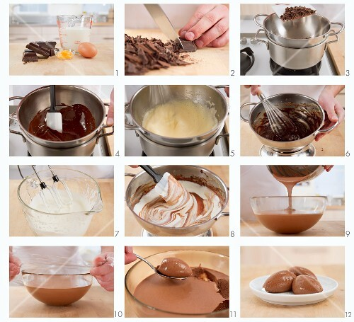 Making chocolate mousse cake