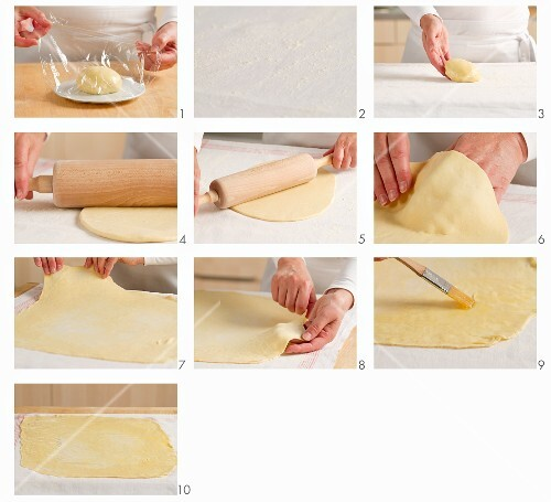 Strudel dough being rolled out