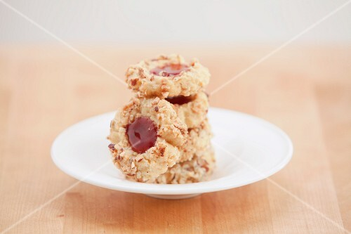 Thumbprint cookies (nut dough biscuits with jam)