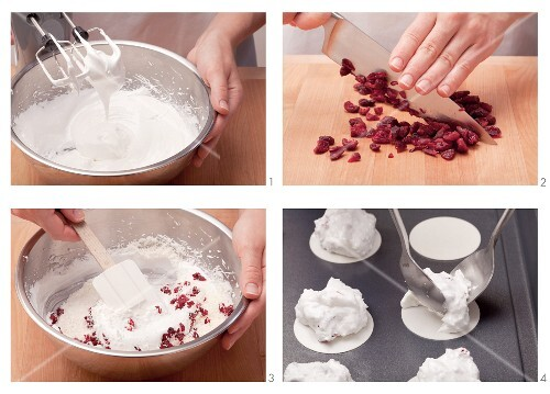 Coconut macaroons with cranberries being made