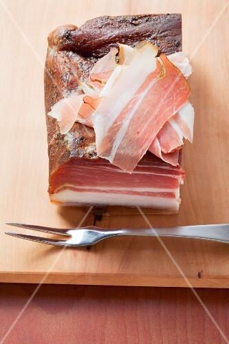 Schinkenspeck (dry-cured, aged pork)