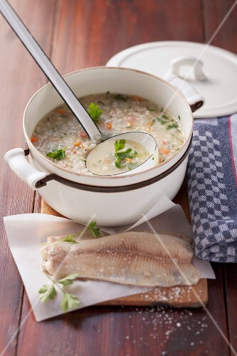 Barley soup with trout fillet
