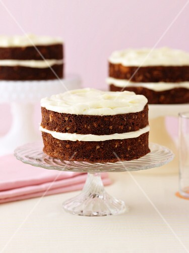 Carrot cakes with a cream cheese topping
